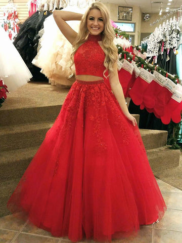 High Neck 2 Pieces Red Lace Long Prom Dresses, Two Pieces Red Lace Formal Dresses, Red Lace Evening Dresses