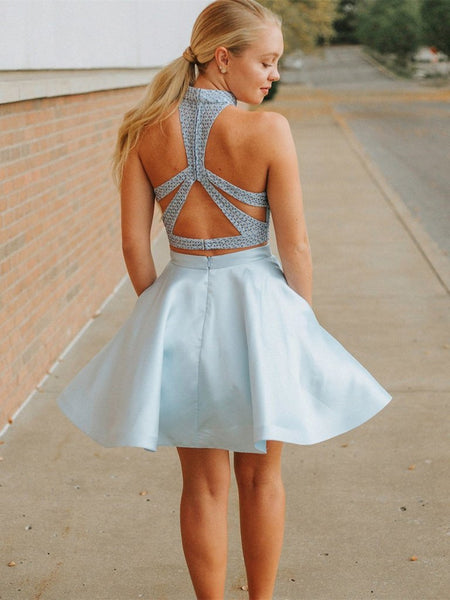 High Neck Two Pieces Light Blue Short Prom Dresses with Pockets, 2 Pieces Layered Light Blue Formal Graduation Homecoming Dresses