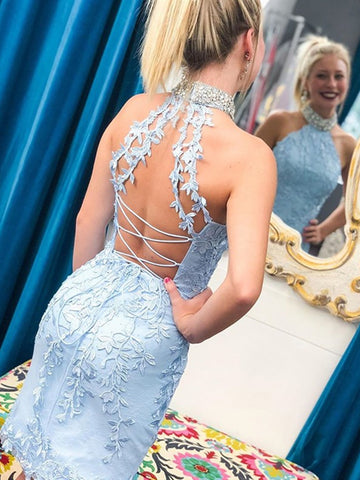 High Neck Mermaid Light Blue Lace Short Prom Homecoming Dresses, Light Blue Mermaid Lace Formal Graduation Evening Dresses