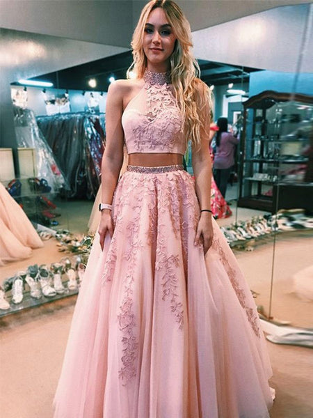 High Neck Two Pieces Lace Appliques Pink Prom Dresses, Pink Lace Formal Dresses, Two Pieces Pink Evening Dresses