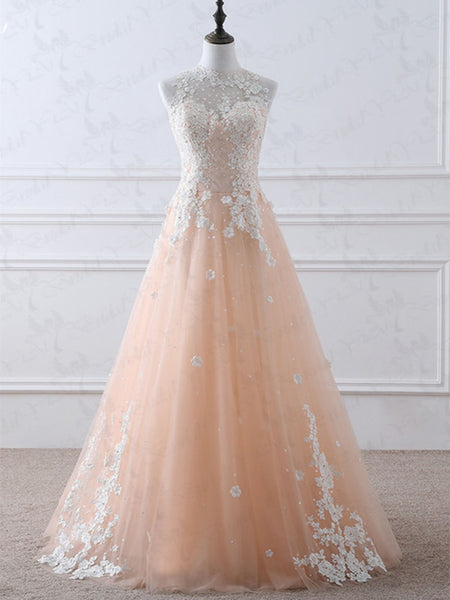 High Neck White Lace Appliques Pink Long Prom Dresses 2020, Pink Lace Formal Dresses, Pink Evening Dresses