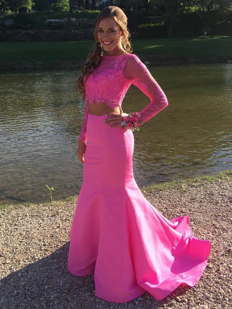 Hot Pink Long Sleeves Mermaid Two Pieces Lace Prom Dresses, Long Sleeves Mermaid Hot Pink Formal Dresses, Two Pieces Mermaid Hot Pink Evening Dresses