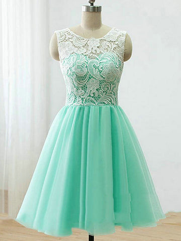 A Line Round Neck Short Green/Yellow/Blue Lace Prom Dress, Short Lace Bridesmaid Dress, Homecoming Dress