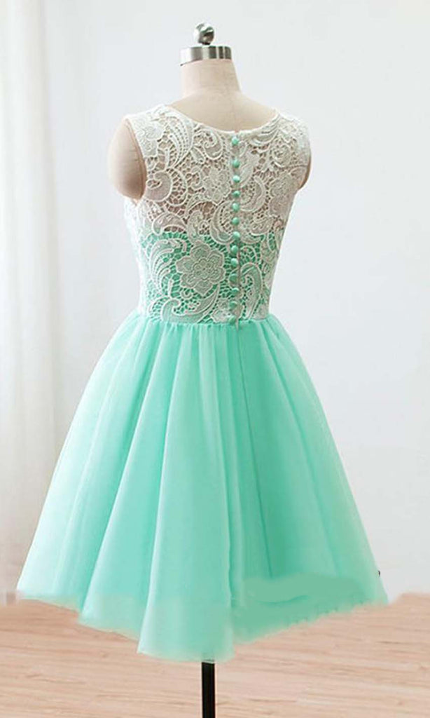 bc95411cc3d ... A Line Round Neck Short Green Yellow Blue Lace Prom Dress