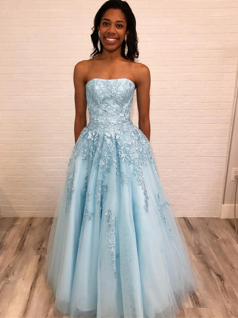 Light Blue A Line Strapless Lace Appliques Long Prom Dresses, Light Blue Lace Formal Dresses, Lace Blue Evening Dresses
