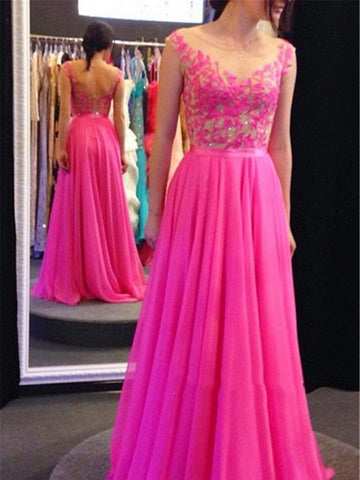 Custom Made A Line Round Neck V Neck Back Prom Dress, Formal Dress, Bridesmaid Dress