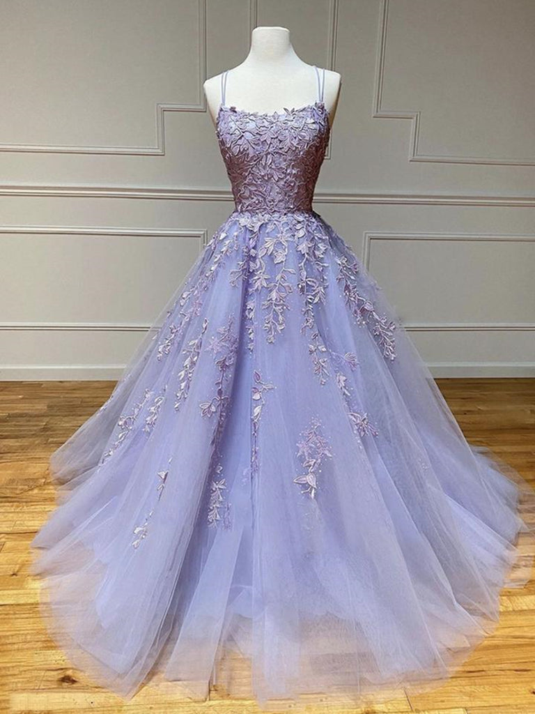 Long Backless Purple Lace Prom Dresses, Purple Lilac Lace Formal Graduation Evening Dresses