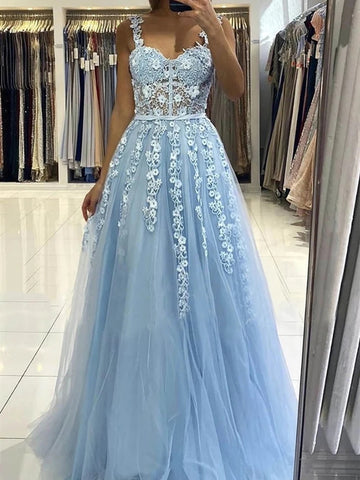 Long Light Blue Lace Floral Prom Dresses with Straps, Light Blue Lace Formal Graduation Evening Dresses