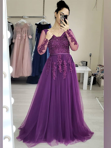 Long Sleeves Beaded Purple Lace Long Prom Dresses, Purple Lace Formal Dresses, Purple Evening Dresses
