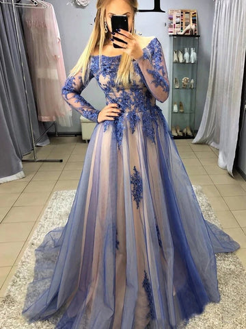 Long Sleeves Blue Lace Long Prom Dresses, Blue Lace Formal Evening Dresses