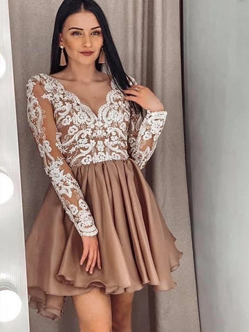Long Sleeves V Neck Short Champagne Lace Prom Dresses, Champagne Lace Formal Graduation Homecoming Dresses