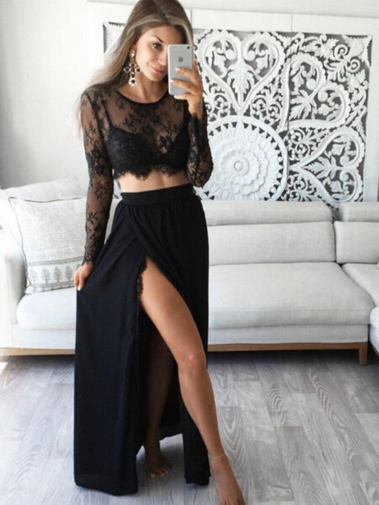 Long Sleeves 2 Pieces Lace Black Long Prom Dresses with High Slit, 2 Pieces Black Lace Graduation Dresses, Evening Dresses