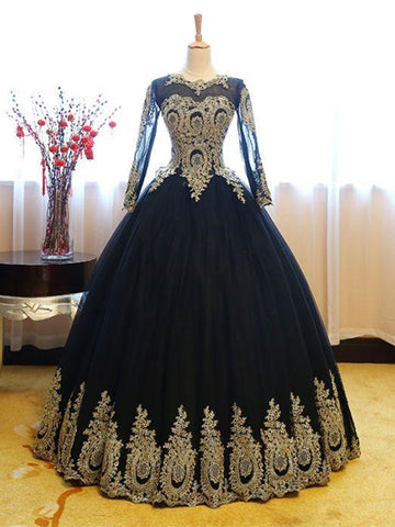 Long Sleeves Gold Appliques Long Lace-up Pink Black Ball Gown Prom Dresses, Formal Dresses, Evening Dresses