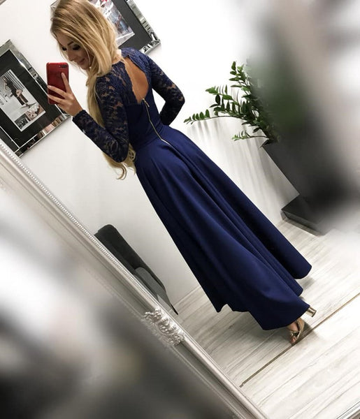 Long Sleeves High Low Burgundy/Navy Blue Lace Long Prom Dresses, Long Sleeves Lace Graduation Dresses, Formal Dresses