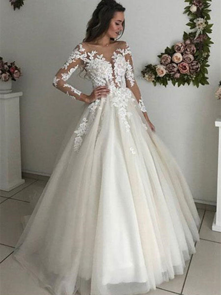 Long Sleeves Lace White Wedding Dresses, Long Sleeves Lace White Long Prom Dresses, White Lace Formal Dresses, Evening Dresses