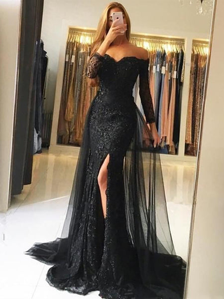 Long Sleeves Mermaid Black/Gray Lace Long Prom Dresses with Side Slit, Mermaid Lace Black/Gray Formal Dresses, Evening Dresses