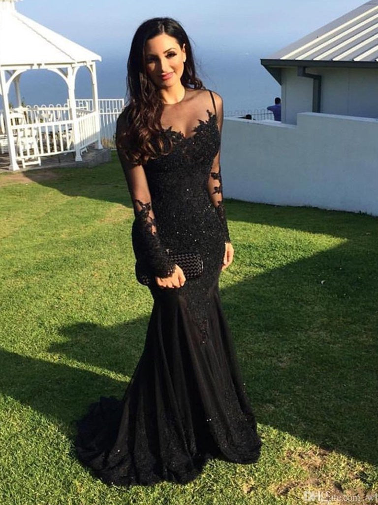 d37b2e296733 Long Sleeves Mermaid Black Prom Dress, Black Mermaid Formal Dress, Evening  Dress, Party