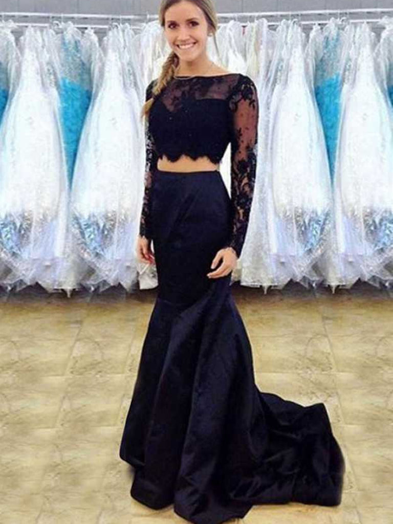 Long Sleeves Mermaid Scoop Neck Two Pieces Lace Black Prom Dresses, Long Sleeves Black Formal Dresses, Black Two Pieces Lace Evening Dresses
