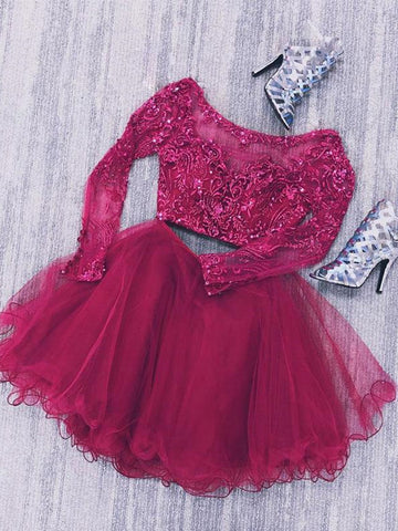Long Sleeves Two Pieces Lace Beaded Burgundy Homecoming Dresses Short Prom Dresses, Burgundy Lace Formal Dresses, Evening Dresses
