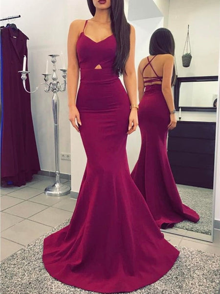 Maroon Spaghetti Straps Mermaid Prom Dress, Mermaid Maroon Graduation Dress, Formal Dress