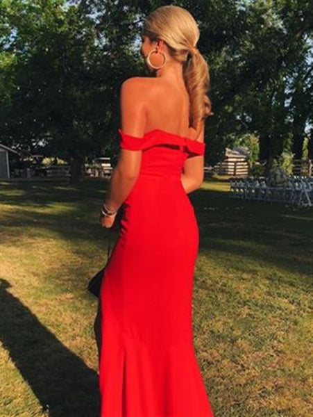 Maxi Off Shoulder Mermaid Long Red Prom Dresses with High Slit, Off Shoulder Red Formal Dresses, Mermaid Red Evening Dresses