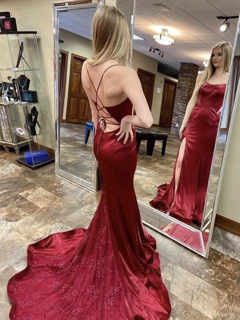Mermaid Backless Burgundy Long Prom Dresses with Lace Appliques, Mermaid Burgundy Formal Dresses, Burgundy Evening Dresses