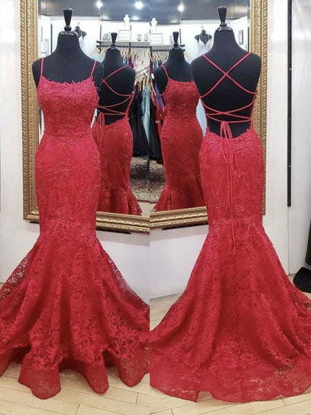 Mermaid Backless Red Lace Long Prom Dresses, Mermaid Red Formal Dresses, Red Lace Evening Dresses