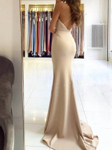 Mermaid V Neck Backless Champagne Prom Dresses with Slit, Mermaid Champagne Formal Dresses, Champagne Evening Dresses
