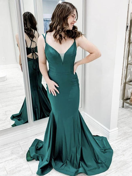 Mermaid V Neck Backless Green Long Prom Dresses, Green Mermaid Formal Graduation Evening Dresses