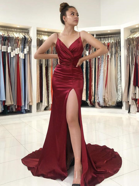 Mermaid V Neck Burgundy Satin Long Prom Dresses with High Slit, Mermaid Burgundy Formal Dresses, Burgundy Evening Dresses
