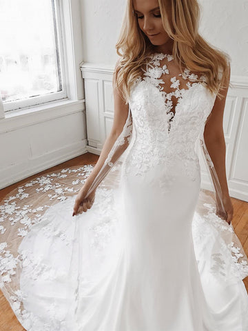 Mermaid Lace Appliques White Wedding Dresses with Train, Mermaid White Lace Prom Dresses, White Lace Formal Evening Dresses