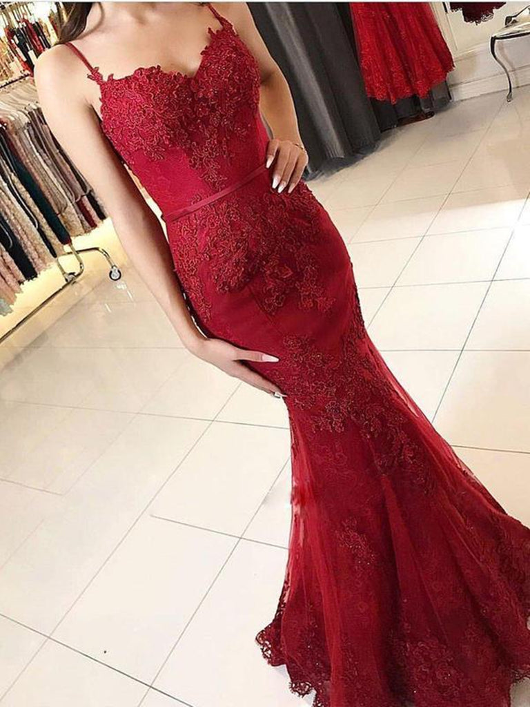 Mermaid Spaghetti Straps Backless Lace Burgundy Prom Dresses, Burgundy Mermaid Formal Dresses, Evening Dresses