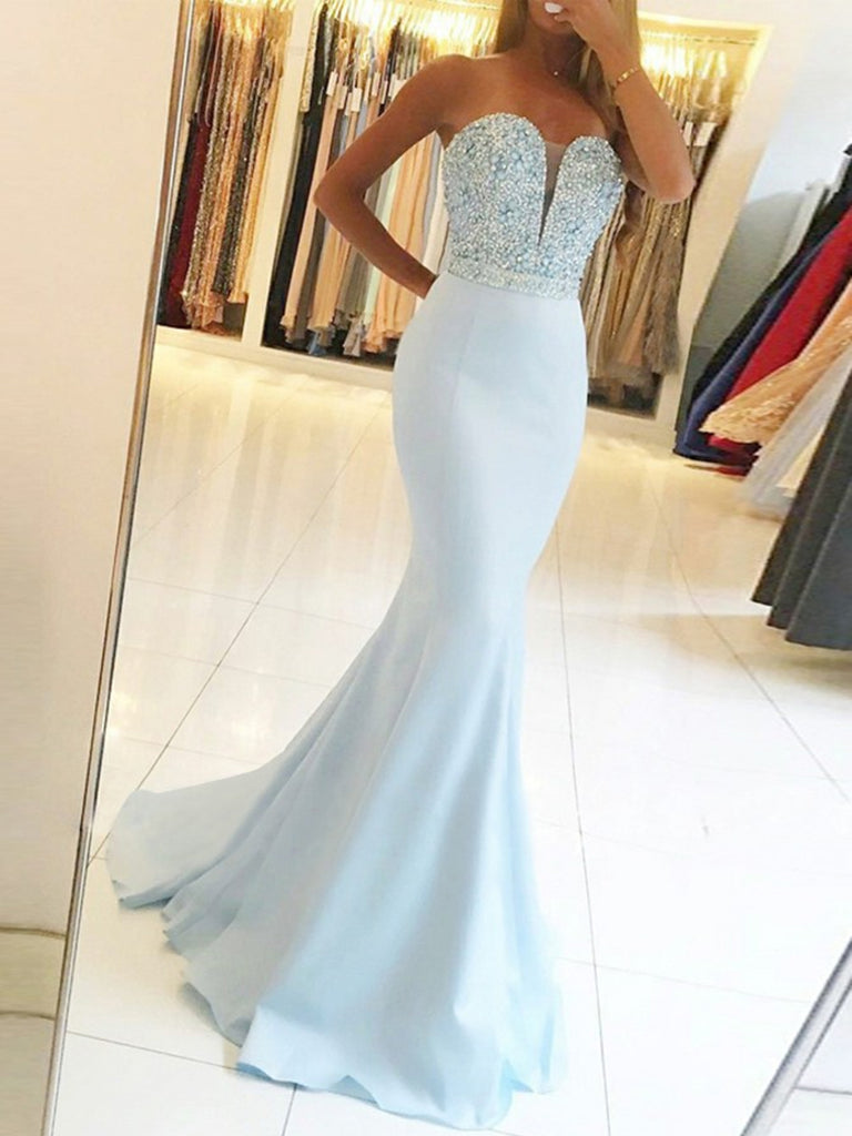 Mermaid Strapless Backless Beaded Light Blue Long Prom Dresses, Light Blue Mermaid Formal Dresses, Evening Dresses