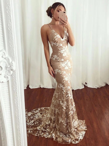 Mermaid V Neck Backless Lace Champagne Long Prom Dresses, V Neck Champagne Lace Formal Dresses, Mermaid Lace Champagne Evening Dresses