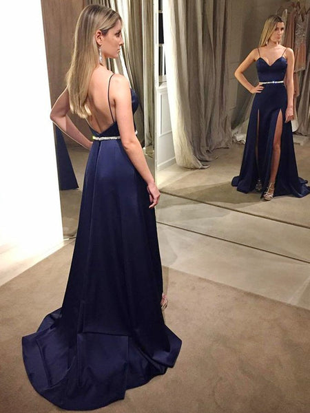 Navy Blue A Line Spaghetti Straps Backless High Slit Sweep Train Satin Long Prom Dresses with Beading Belt, Navy Blue Formal Dresses, Evening Dresses