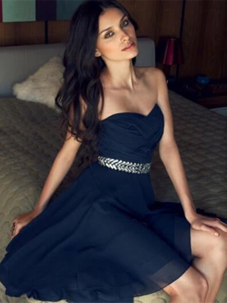 Navy Blue Chiffon Short Prom Dresses, Navy Blue Homecoming Dresses, Graduation Dresses