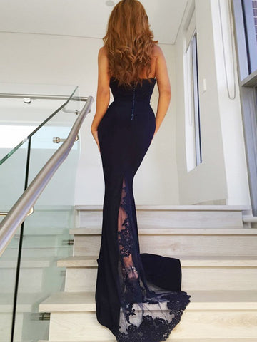 Navy Blue Halter Neck Mermaid Backless Lace Appliques Long Prom Dresses, Mermaid Navy Blue Formal Dresses, Navy Blue Evening Dresses