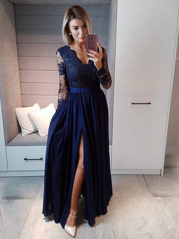 c704a31e52c Navy Blue Long Sleeves Beaded Lace Long Prom Dresses with High Slit