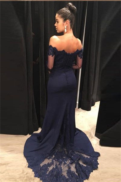 1119fab2bd ... Navy Blue Off Shoulder Mermaid Long Sleeves Lace Prom Dresses