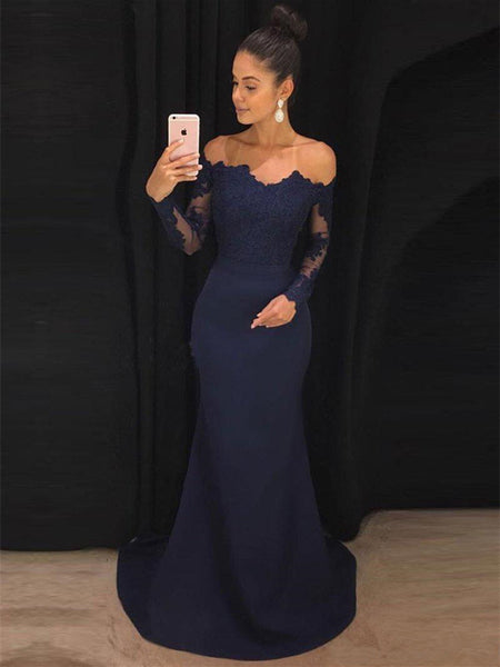 Navy Blue Off Shoulder Mermaid Long Sleeves Lace Prom Dresses, Navy Blue Formal Dresses, Evening Dresses