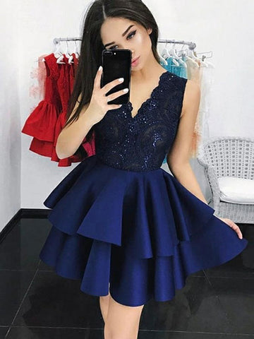 Navy Blue V Neck Lace Short Prom Dresses, Lace Layered Dresses, Navy Blue Homecoming Dresses