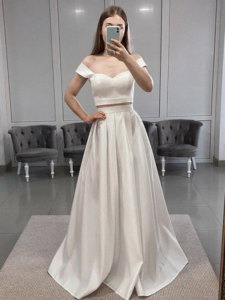 Off Shoulder 2 Pieces White Satin Long Prom Dresses, Two Pieces White Formal Dresses, Off the Shoulder White Evening Dresses