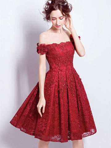 Off Shoulder Burgundy Lace Short Prom Homecoming Dresses, Burgundy Lace Formal Graduation Evening Dresses, Burgundy Cocktail Dresses