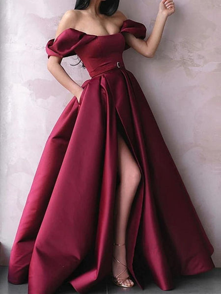 Off Shoulder Burgundy Satin Long Prom Dresses with High Slit, Burgundy Formal Graduation Evening Dresses, Wine Red Ball Gown