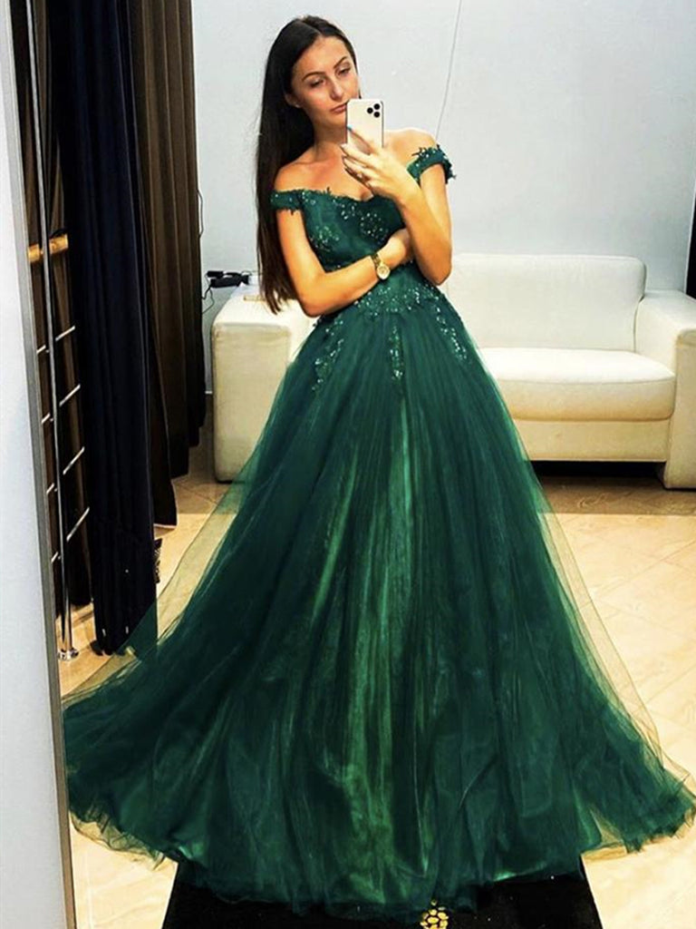 Off Shoulder Dark Green Lace Long Prom Dresses, Dark Green Lace Formal Graduation Evening Dresses
