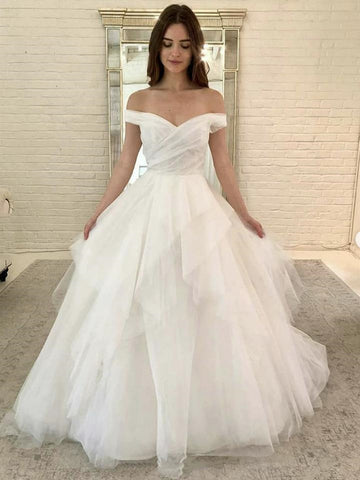 Off Shoulder Fuffy White Long Prom Dresses, Off Shoulder White Formal Dresses, White Evening Dresses, Ball Gown