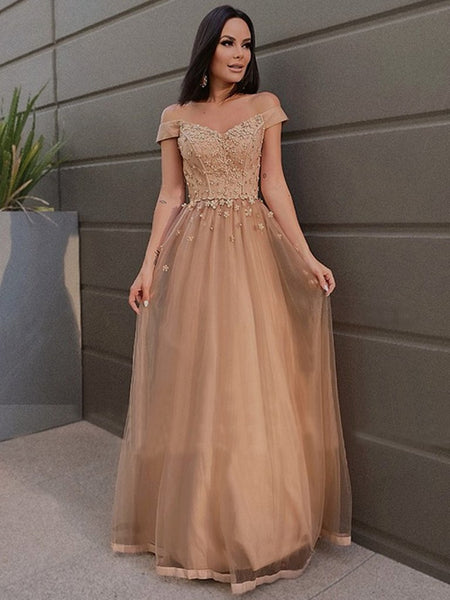 Off Shoulder Long Champagne Tulle Lace Prom Dresses, Off the Shoulder Champagne Formal Dresses, Champagne Lace Evening Dresses