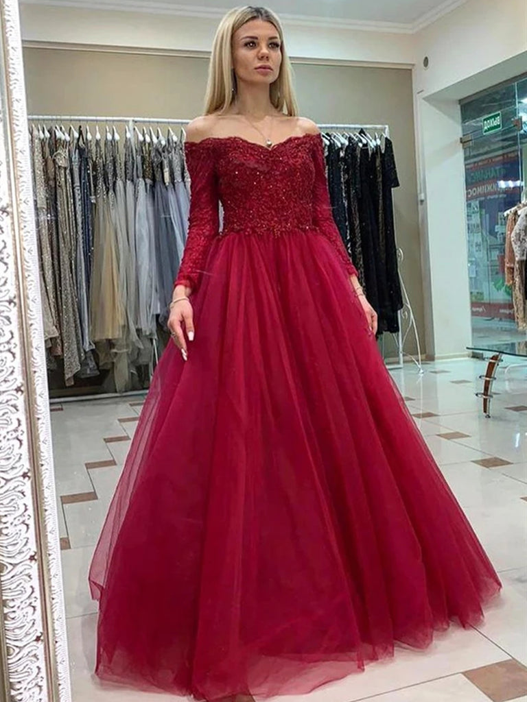 Off Shoulder Long Sleeves Burgundy Lace Prom Dresses, Long Sleeves Burgundy Lace Formal Dresses, Burgundy Lace Evening Dresses