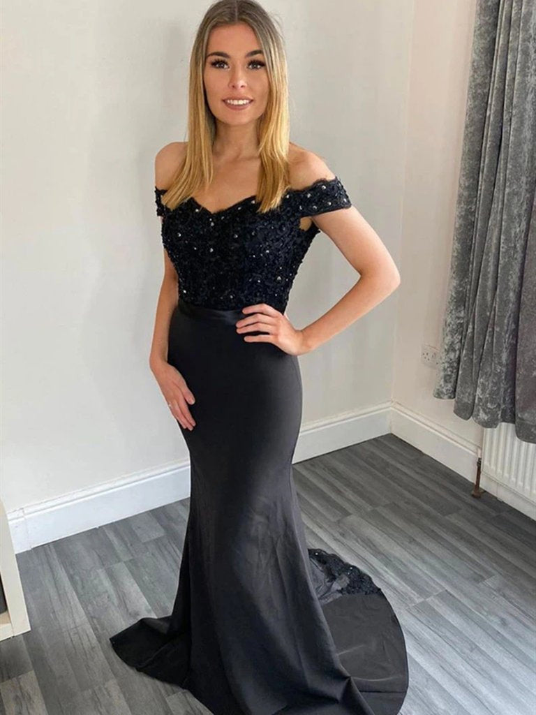 Off Shoulder Mermaid Black Lace Long Prom Dresses, Mermaid Black Lace Formal Dresses, Black Lace Evening Dresses