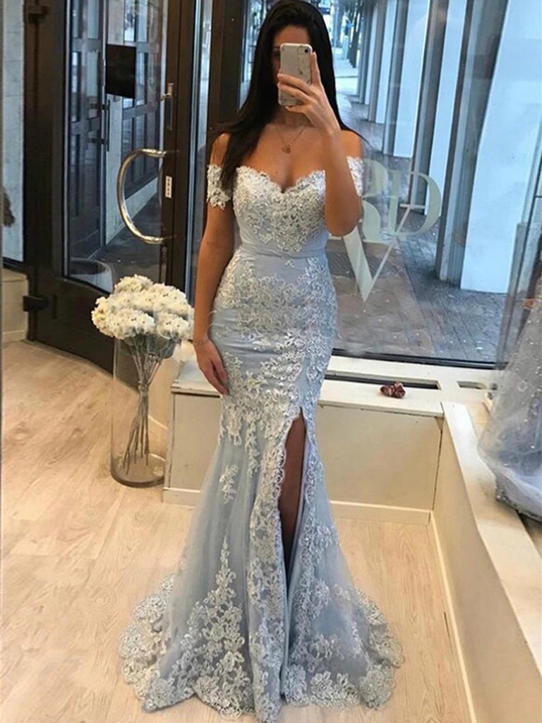 Off Shoulder Mermaid Light Blue Lace Long Prom Dresses, Off Shoulder Light Blue Formal Dresses, Mermaid Light Blue Evening Dresses